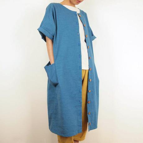Furusuボタンワンピース(木綿 薄藍)【受注生産対応】