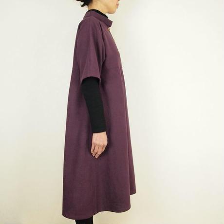 Kimamaスタンドカラーワンピース(木綿 杜若)【受注生産対応】