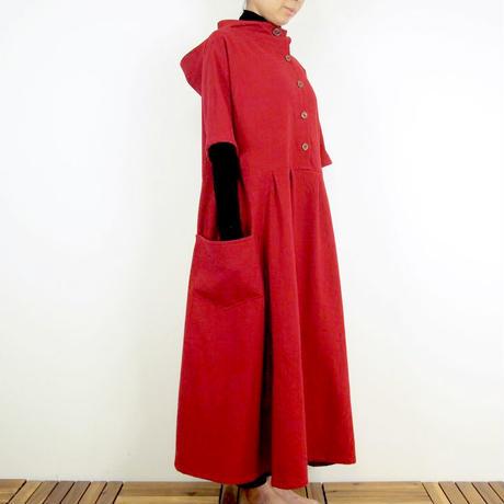 Kimamaフードロングワンピース(木綿 赤)【受注生産対応】