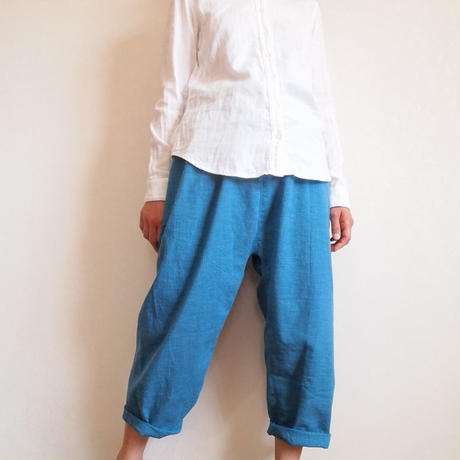 Kimama七分丈パンツ(木綿 薄藍)【受注生産対応】