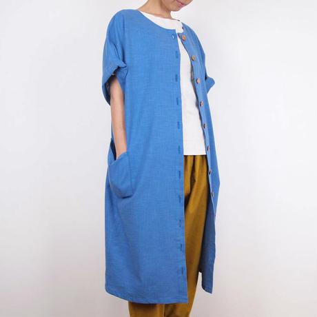 Furusuボタンワンピース(木綿 天色)【受注生産対応】