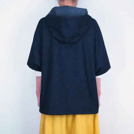 薄デニムフードボタンシャツ(綿 8オンスデニム)【受注生産対応】