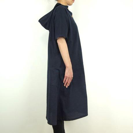 Furusuフードボタンワンピース(木綿 鉄紺)【受注生産対応】