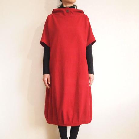 Kimamaフードバルーンワンピース(木綿 赤)【受注生産対応】