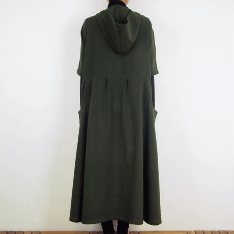 Kimamaフードロングワンピース(木綿 松葉)【受注生産対応】
