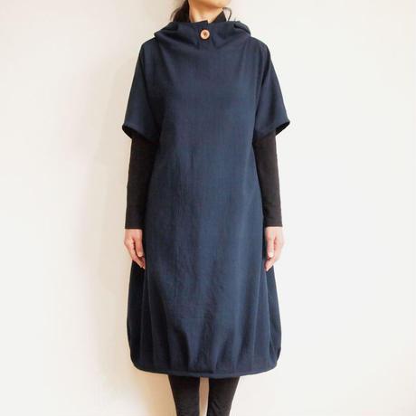 Kimamaフードバルーンワンピース(木綿 濃紺)【受注生産対応】