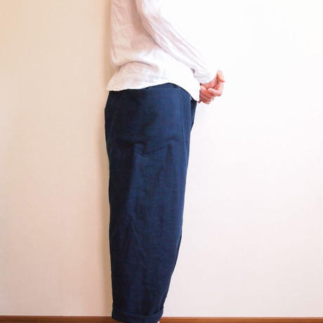 Kimama七分丈パンツ(木綿 鉄紺)【受注生産対応】