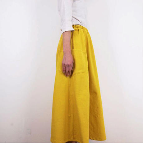 Kimamaフレアスカート(木綿 山吹)【受注生産対応】