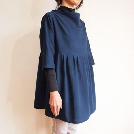 Kimamaルーズネックチュニック(木綿 濃紺)【受注生産対応】