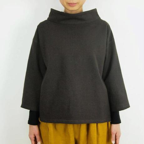 Kimamaルーズカラーシャツ(木綿 錆紫)【受注生産対応】