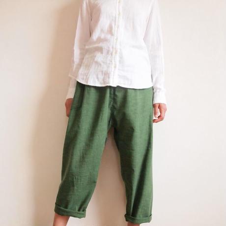 Kimama七分丈パンツ(木綿 深緑)【受注生産対応】