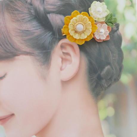 和紙の花のヘアクリップ*3輪のお花/全2色