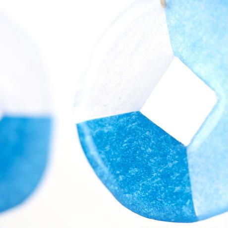 カラフルなスクエアと丸*美濃和紙のイヤリング/ピアス*ブルー