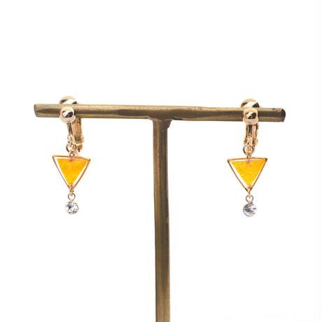 ちっちゃな三角とクリスタルチャーム*美濃和紙のイヤリング/ピアス*黄色