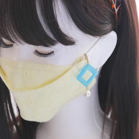 スクエアフープとコットンパール*美濃和紙のマスクチャーム
