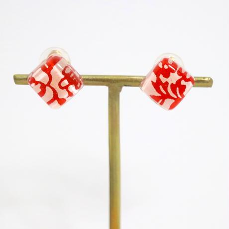 和紙のイヤリング/ピアス*マスククリップにも*和柄/花柄-赤