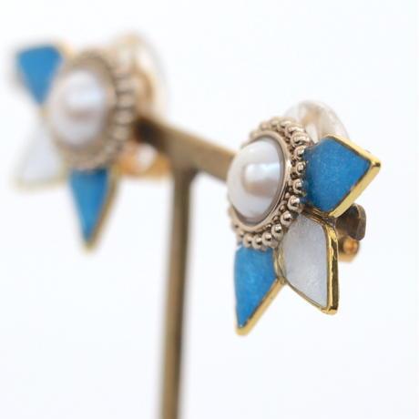 ビジューボタンと花びら*美濃和紙のイヤリング/ピアス*青×ブルーグレー
