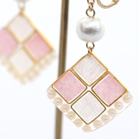 チェックとパール*美濃和紙のイヤリング/ピアス*ピンク