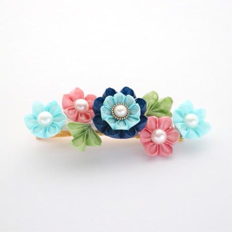 和紙の花のヘアクリップ*5輪の小花