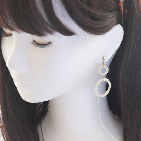 糸巻きリング*2連*美濃和紙のイヤリング/ピアス*紙糸