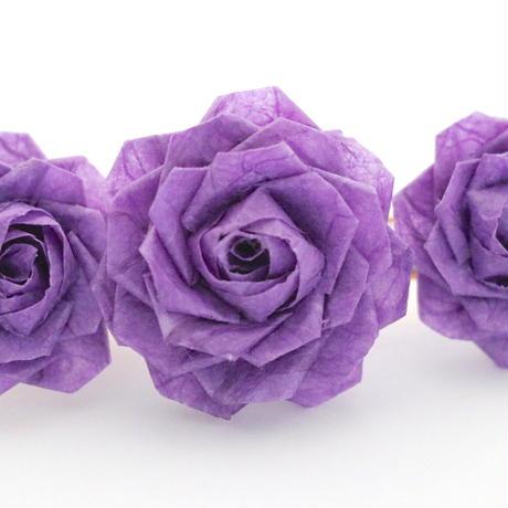 和紙の花のヘアクリップ*バラ3輪/全4色