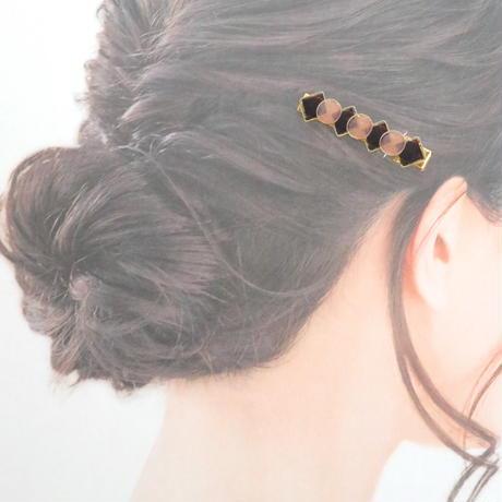 美濃和紙のヘアクリップ*ゴールドカラー*丸&四角/バレンタイン