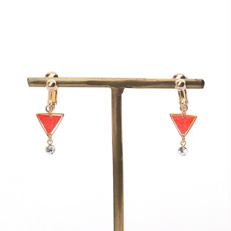ちっちゃな三角とクリスタルチャーム*美濃和紙のイヤリング/ピアス*赤