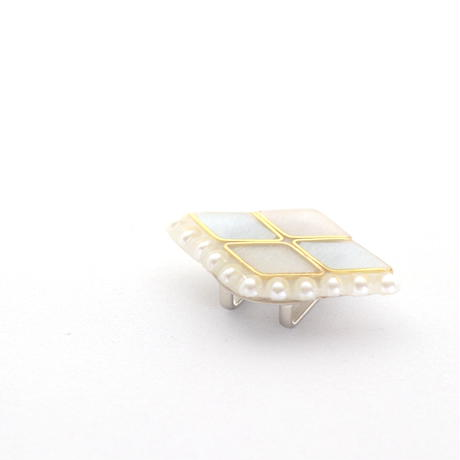 美濃和紙の帯留めorブローチ*ダイヤとパール/ブルーグレー