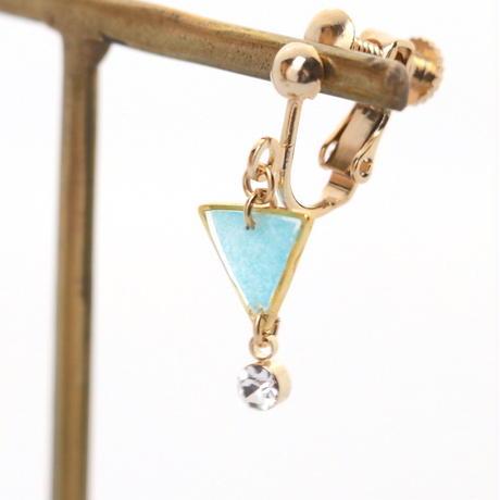 ちっちゃな三角とクリスタルチャーム*美濃和紙のイヤリング/ピアス*水色