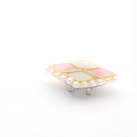 美濃和紙の帯留めorブローチ*ダイヤとパール/ピンク