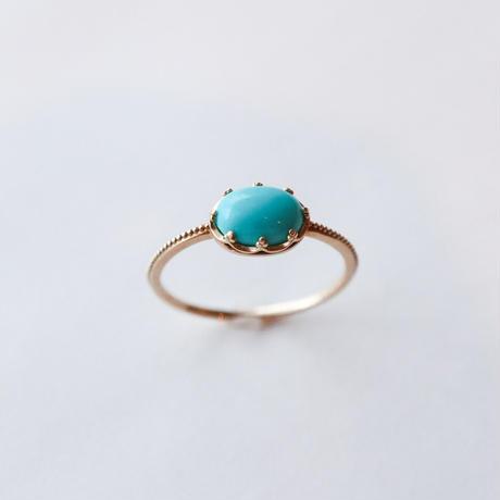 Turquoise ターコイズ-K10- Ring  オーバル/ミル