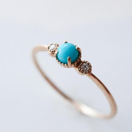 Turquoise/Diamond -K10- Ring