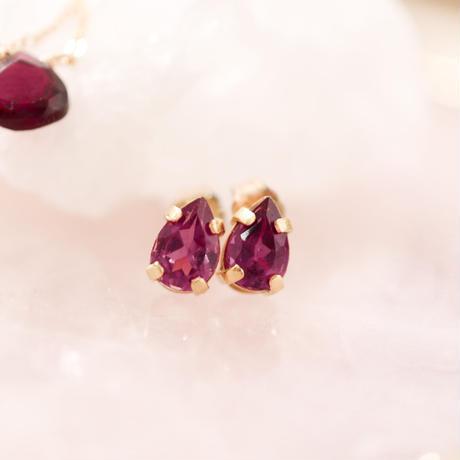 Rhodolite garnet ペアシェイプピアス