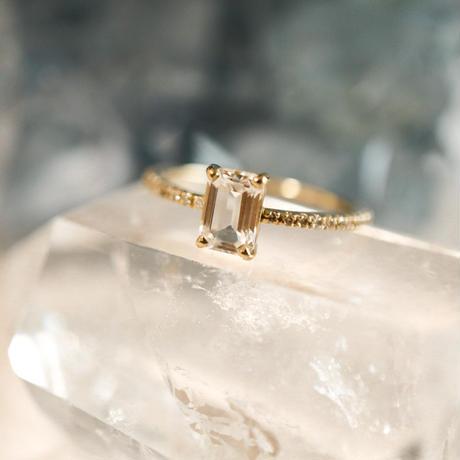 MUSE Ring -White Topaz- オクタゴンカット