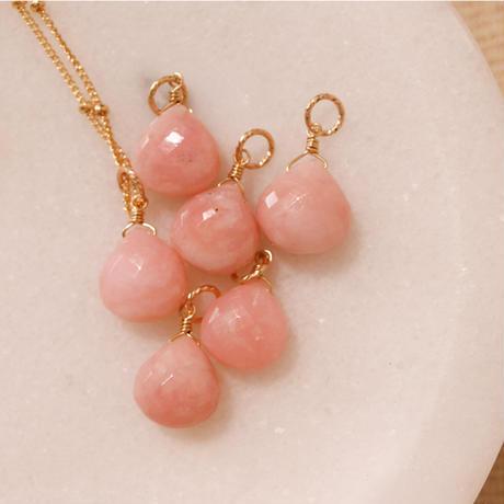 -Pink Opal-  Amuletペンダントトップ -マロンシェイプ-