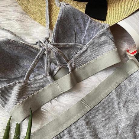 パッド付きcotton rib gray  【N-0055-GY】