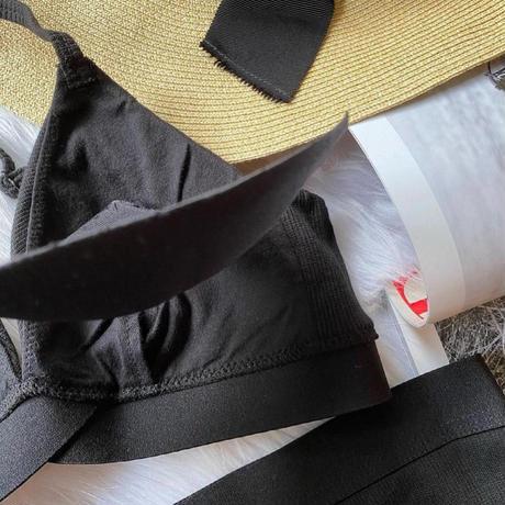 パッド付きcotton rib black  【 N-0055-BK】
