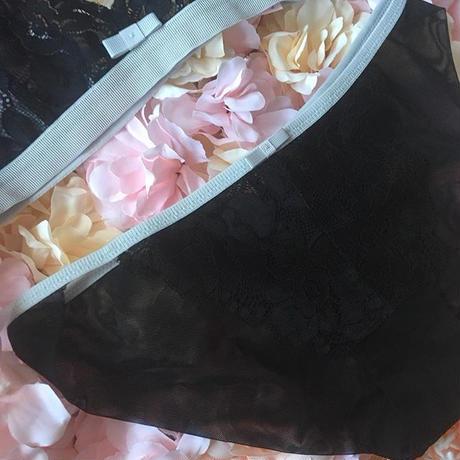 Lsize ribbon black bralette set up  【 N-0035】
