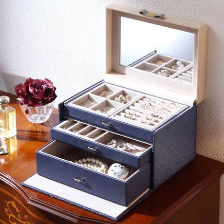 ジュエリーボックス マストバイ アラベスク ネイビー アクセサリーケース ジュエリーケース 宝石箱 上品 綺麗 大容量 高級