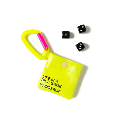 TRAVEL CHINKORO POUCH with DICE(VOLT YELLOW)