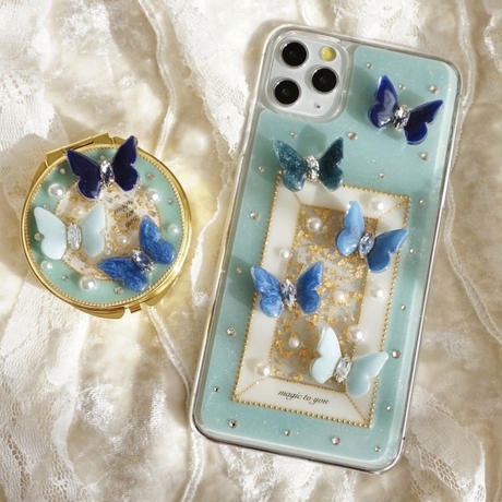 butterfly compact mirror pill case