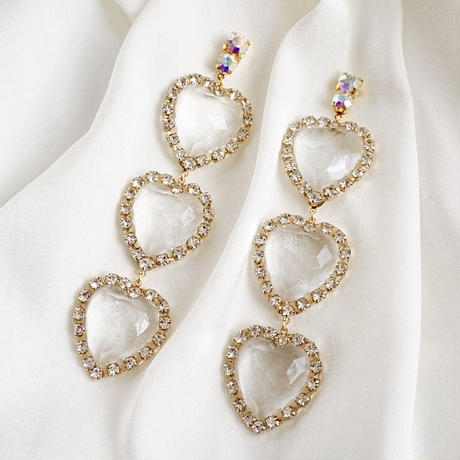 clear 3 heart earring