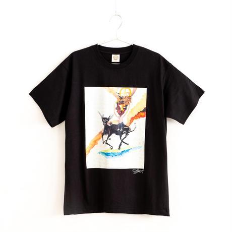 【長坂真護】Tシャツ「牛にのり働く少年」(オーガニックコットン)