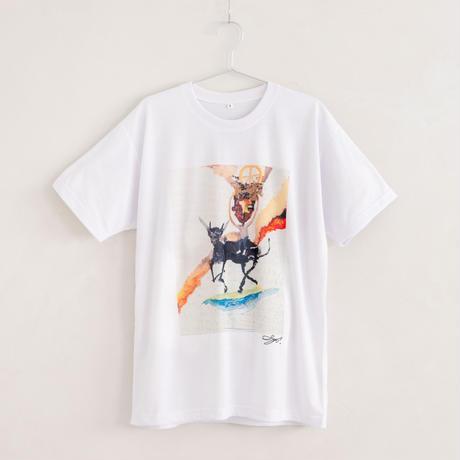 【長坂真護】Tシャツ「牛にのり働く少年」(リサイクルポリエステル)
