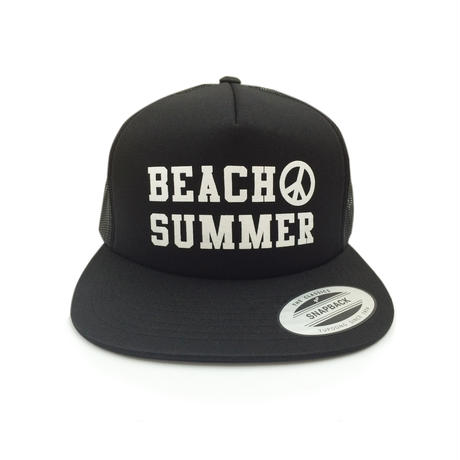"""BEACH SUMMER"" SNAPBACK MESH CAP (BLACK)"