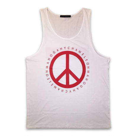 """PEACE & BOX"" TANK TOP (WHITE / RED)"