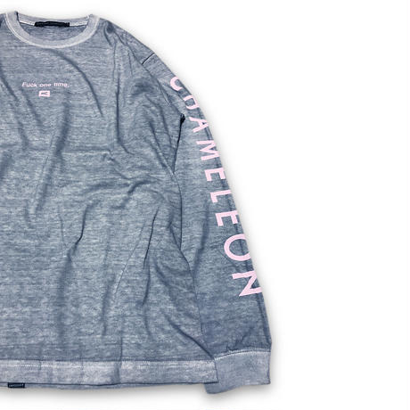 """F**k one time"" DIRTY DYED L/S T-SHIRTS (BABY PINK)"
