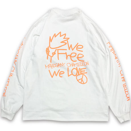 """NEON TAGGING"" L/S T-SHIRTS (WHITE / NEON ORANGE)"