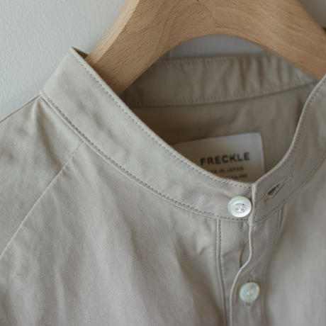 weather cloth cotton linen/raglan shirt/beige