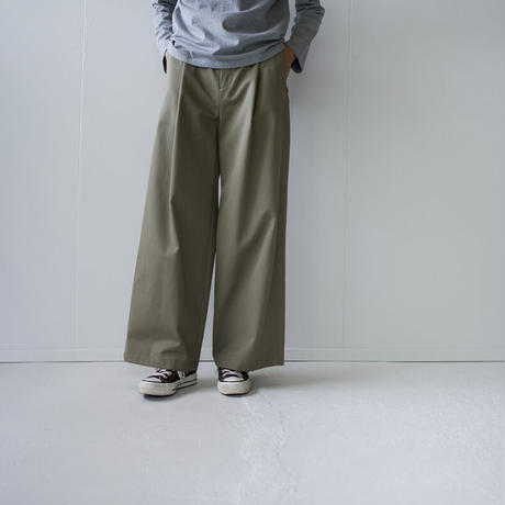 twill cotton /tack wide pants/khaki